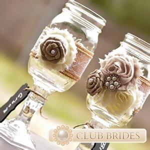 Свадебные бокалы в стиле рустик (21 фото идей)